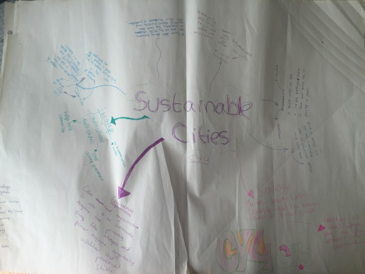 Student concept/mind map linking discipline knowledge to 'Sustainable Cities'